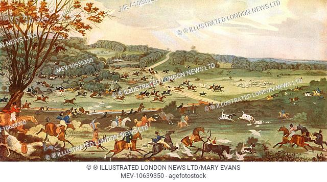 Hunting in Epping Forest - a view of Fair Mead Bottom, a famous Easter Monday feature of the Epping hunt in 1820 with the deer shown getting clean away in the...