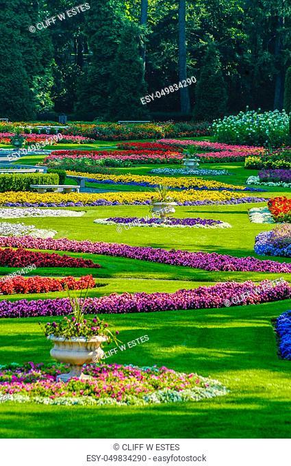 Beautiful Gardens in park, Spokane, WA on lightly overcast day. Very colofrul