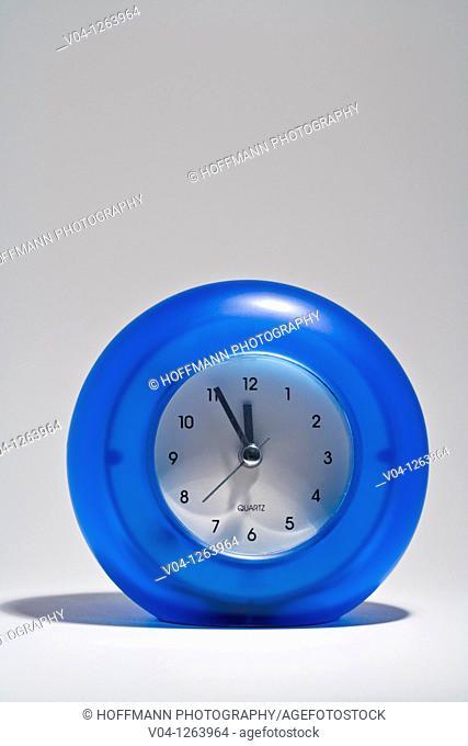 Close up of a blue alarm-clock