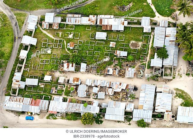 Aerial view, market square under construction, in a suburb of Dar es Salaam, Tanzania, Africa