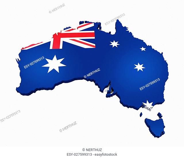 Map of Australia isolated on white background. 3D render