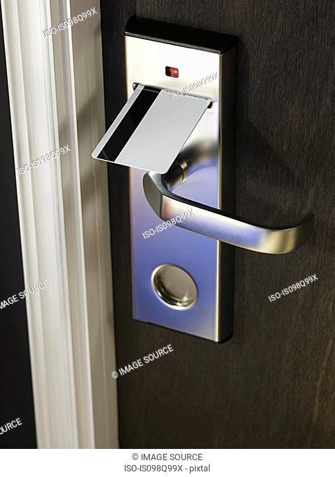 Key in hotel room door