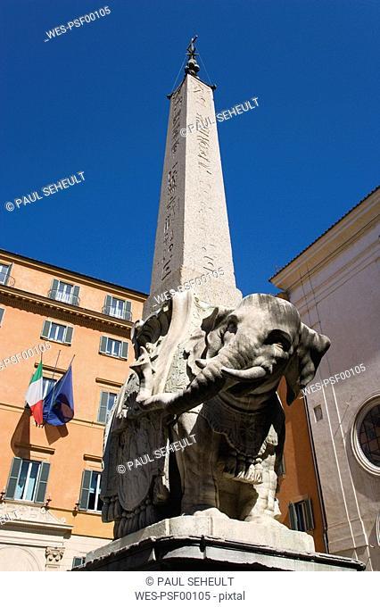 Italy, Rome, Santa Maria sopra Minerva, Elephant Obelisk