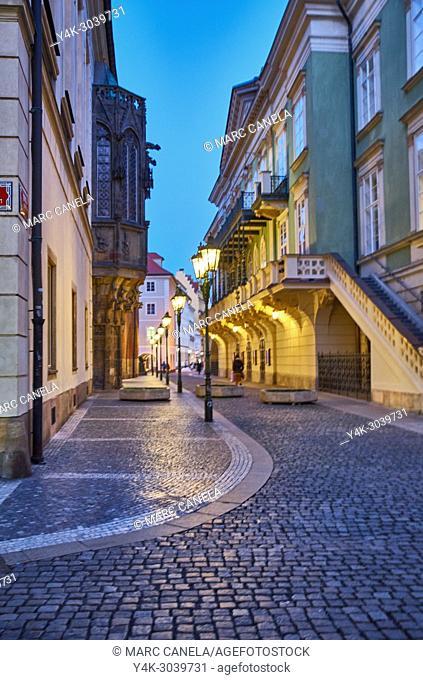 Europe Prague, Czech Republic, lampposts of light in night