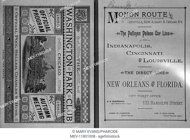 Leaflet cover design with horseracing scene, Washington Park Club, Chicago, Official Program, Autumn Meeting, 1885. With a facing page advertising the Pullman...