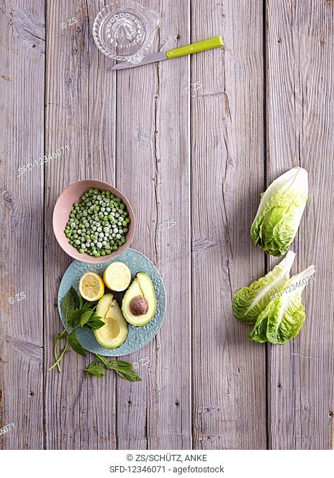 Avocado, mint, peas, and romaine lettuce