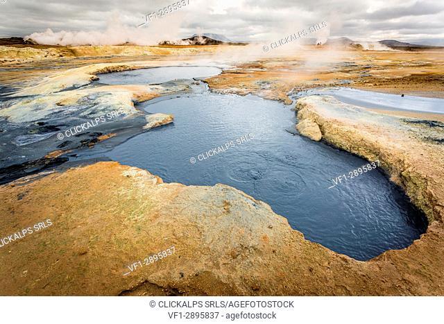 Iceland, Europe. Geothermal area of Hverir, Northern territory