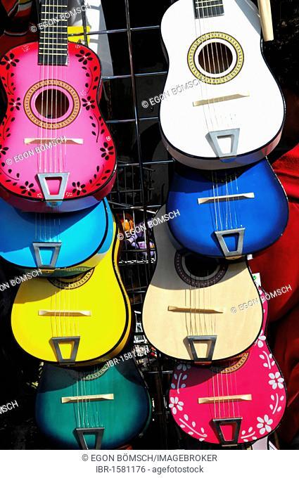 Guitars, souvenirs, Olvera Street, Los Angeles, California, USA