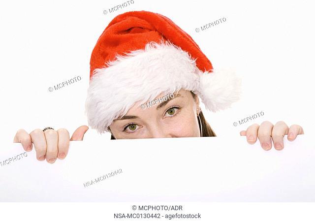 christmas woman holding board