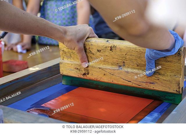 Children's engraving workshop, Fundació Pilar i Joan Miró, Palma, Mallorca, Balearic islands, Spain
