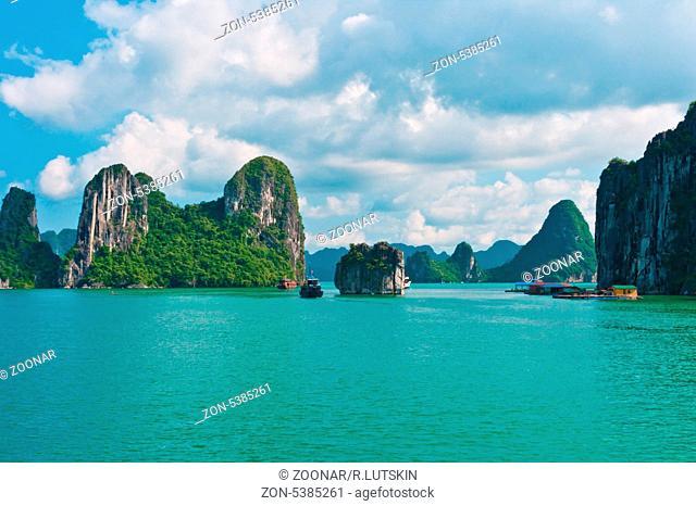 Rock islands in Halong Bay
