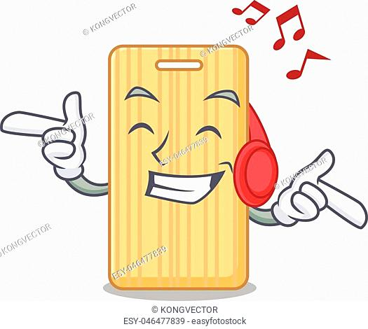 Listening music wooden cutting board mascot cartoon vector illustration