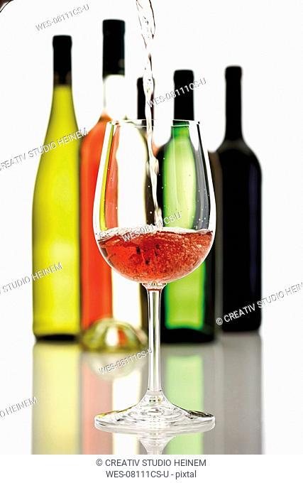 Wine poured into wine glass