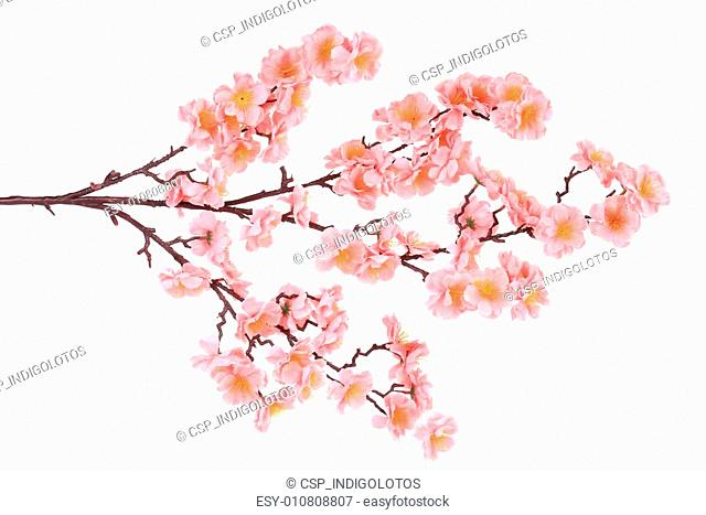 Branch of blooming artificial pink flowers