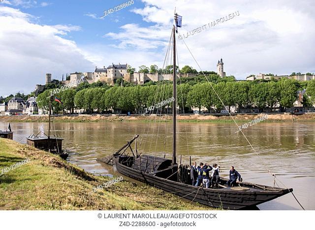 Chinon Boats festival (La fête de la Batellerie) with traditional flat-bottomed wooden boats called toues. Indre-et-Loire department, Centre region