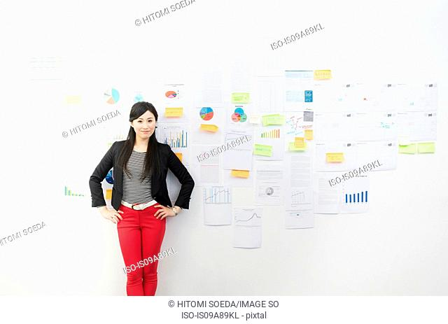 Woman in front of wall with adhesive notes