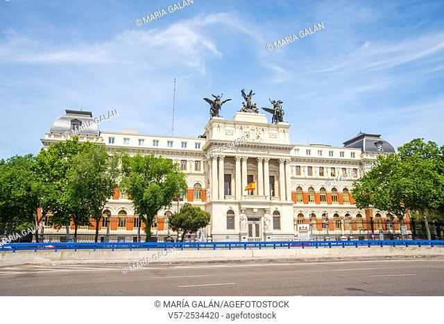 Facade of Agriculture Ministry. Atocha street, Madrid, Spain