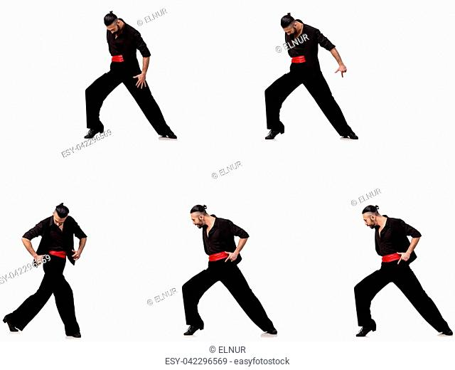 Spanish dancer in various poses on white