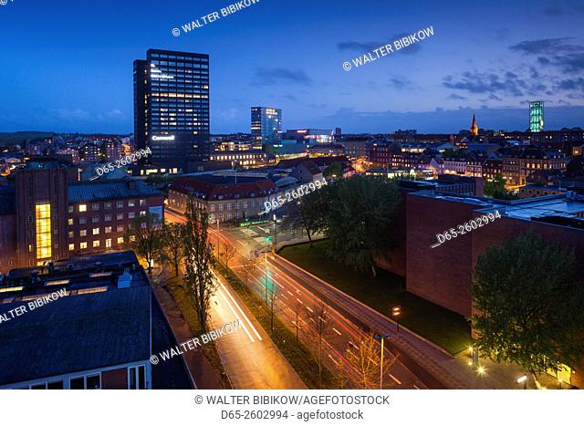 Denmark, Jutland, Aarhus, elevated city view above Spanien Street, evening
