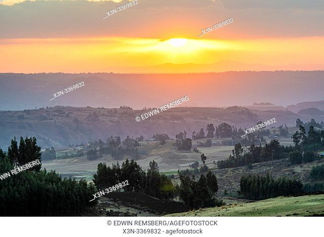The sun setting over the mountains and valleys of Debre Berhan, Ethiopia