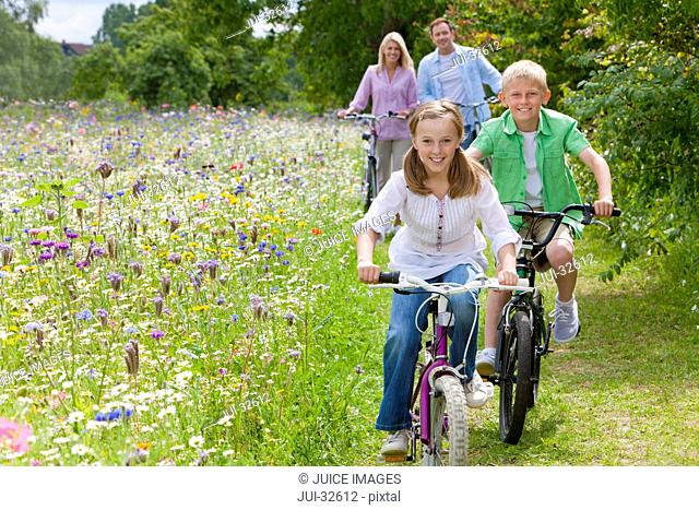 Portrait of family riding bicycles in wildflower field