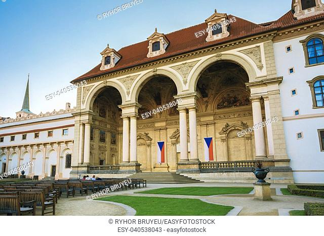 Prague, Czech Republic. Wallenstein Palace Currently The Home Of The Czech Senate In Prague. Senate Of The Parliament Of The Czech Republic