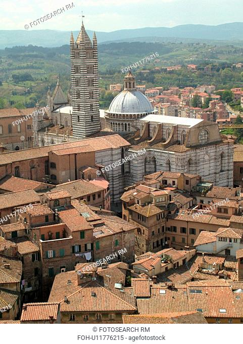 Tuscany, Italy, Siena, Toscana, Europe, Aerial view of the Duomo Campanile and the city of Siena from Torre del Mangia