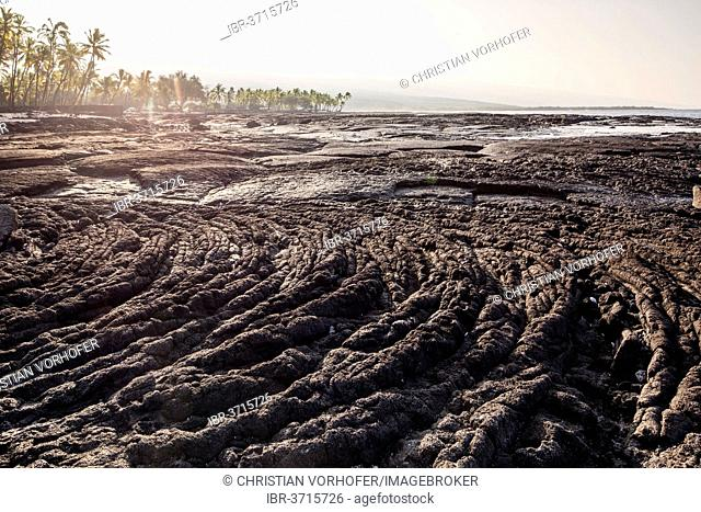 Cold lava on the coast of Pu?uhonua o Honaunau, Pu?uhonua o Honaunau National Historical Park, Honaunau, Big Island, Hawaii, United States