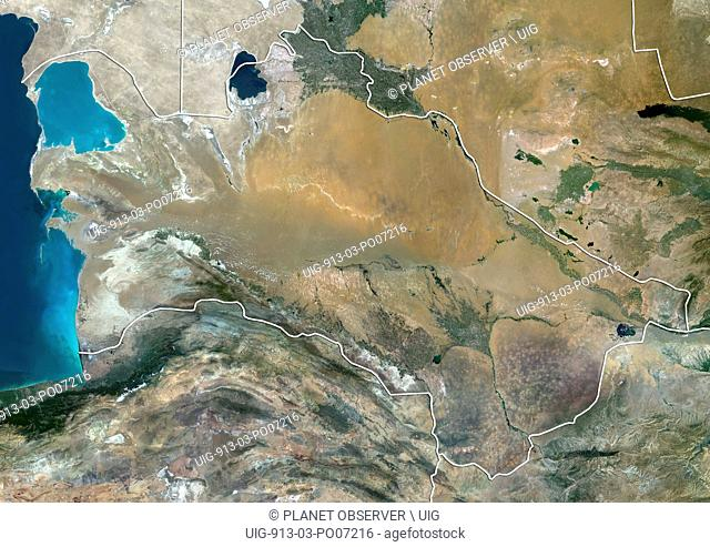 Satellite view of Turkmenistan (with country boundaries). This image was compiled from data acquired by Landsat 8 satellite in 2014