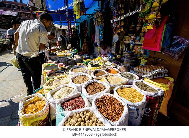 Different spices, nuts, beans and lentils are sold in street market, Kathmandu, Kathmandu District, Nepal