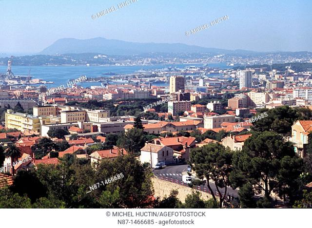Toulon, partial view from Mount Faron, the harbor and naval vessels