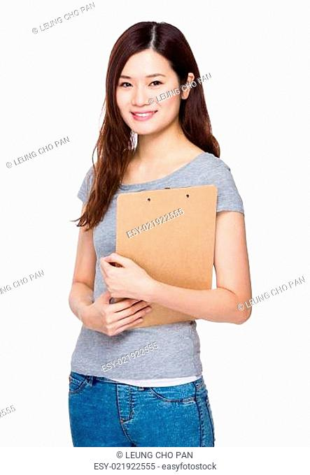 Asian Woman with clipboard