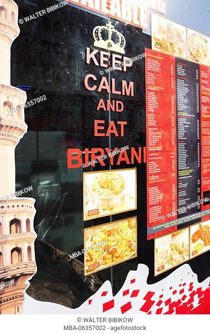 UAE, Dubai, Bur Dubai, sign outside indian restaurant, Keep Calm and Eat Biryani