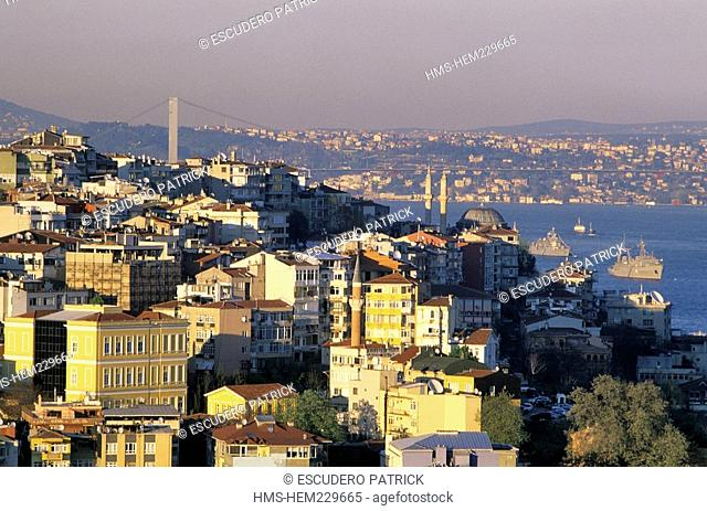 Turkey, Istanbul, Beyoglu District, panoramic view upon the Town, the Bosphorus and the Ortakoy Bridge from the Galata Tower