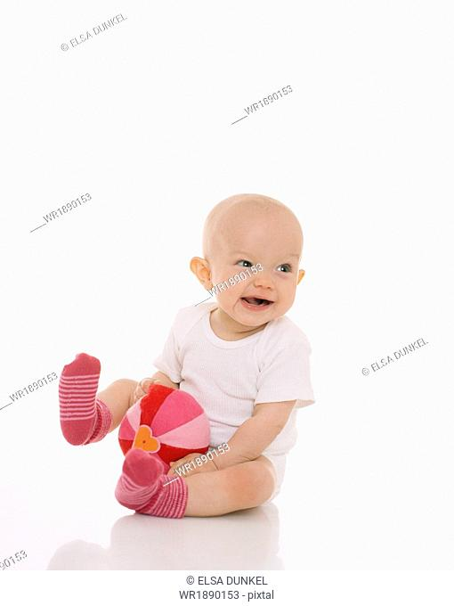 Baby Boy Playing With Soft Ball, Munich, Bavaria, Germany, Europe