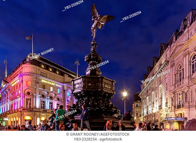 Piccadilly Circus and The Statue Of Eros At Night, London, England