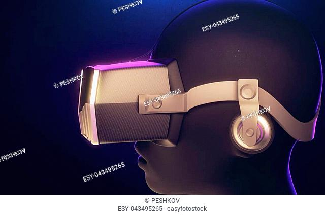 Robot with virtual reality glasses on blue background. Technology concept. 3D Rendering