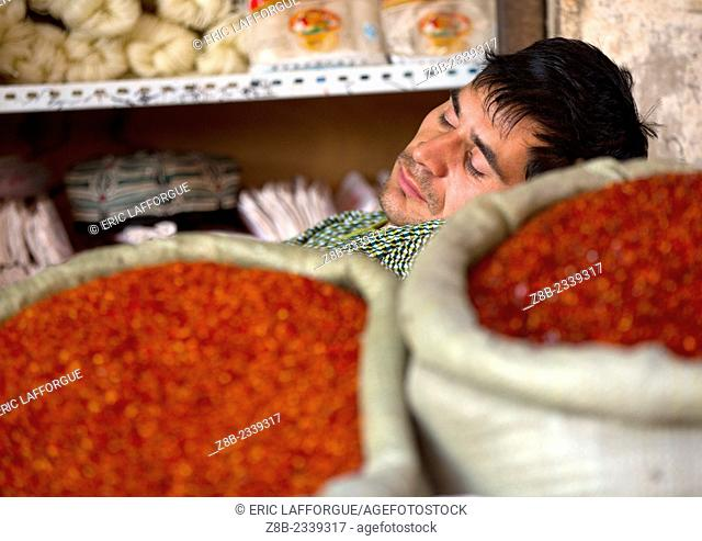 Uyghur Man Sleeping on Spices bags, Xinjiang Uyghur Autonomous Region, China