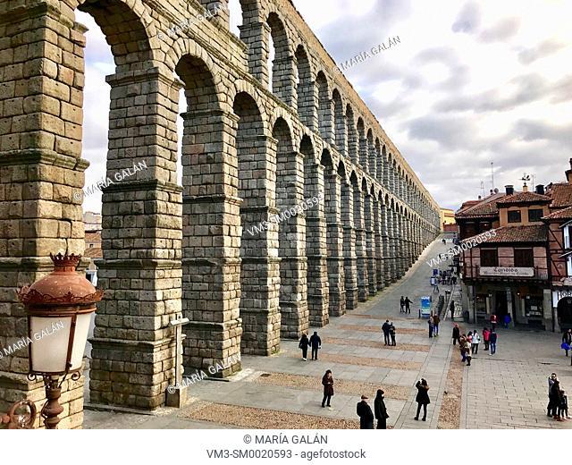 Roman Aqueduct, close view. Azoguejo Square, Segovia, Spain
