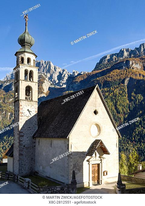 Church of San Tomaso Agordino in the Dolomites of the Veneto. The Dolomites of the Veneto are part of the UNESCO world heritage