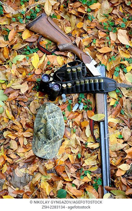 Autumn still-life with a shotgun