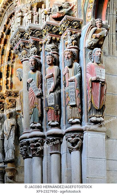 Sculptures.Gateway of the cathedral of Ourense.Galicia .Spain