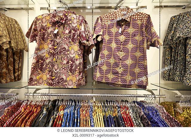A selection of Indonesian batik shirts in a shop on Malioboro street. Yogyakarta, Java, Indonesia