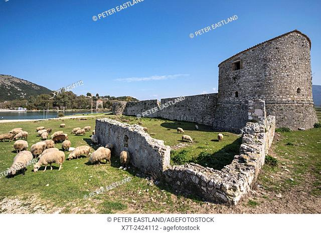 The triangular fortress on the shore of the Vivari channel at Butrint in Southern Albania
