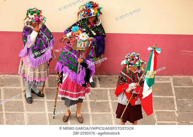 Sheppards dance performed in New Years eve in San Miguel Arcangel temple. Temascalcingo, Edo de Mexico, Mexico