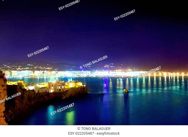 Ibiza town port blue sea night lights