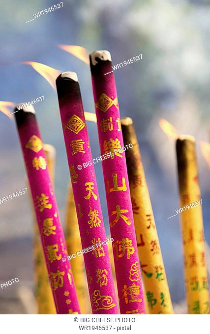 Temple incense burning at the monastery in Leshan, Chengdu