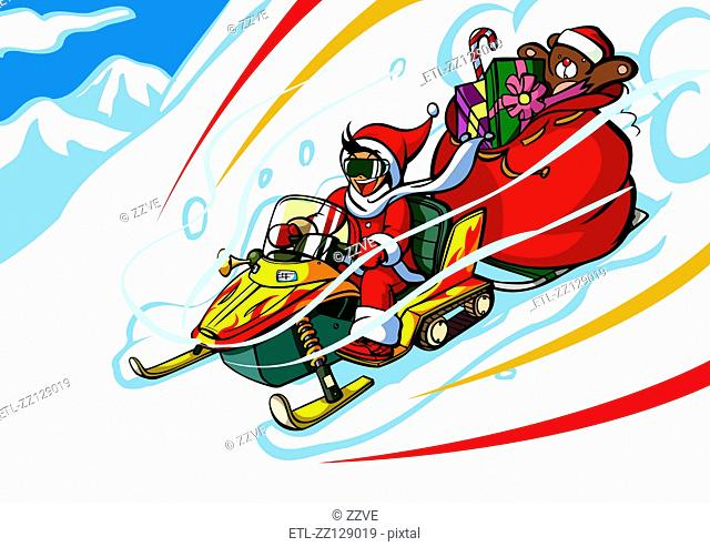 Man in a Santa costume riding a snowmobile with a gift bag