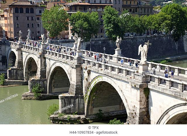 Europe, Italy, Rome, Sant' Angelo Bridge, Ponte S'Angelo, Bridge, Tiber River, River, Tourism, Holiday, Vacation