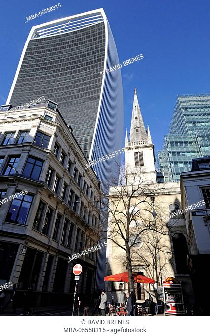 Saint Margaret Pattens church and street cafe in Rood Lane with The Walkie Talkie Building in background City of London London England